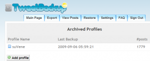 TweetBackup Sample