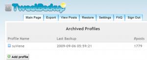 TweetBackup Sample